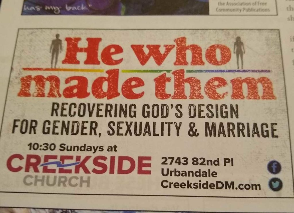 Picture of an advertisement for the Creekside Church